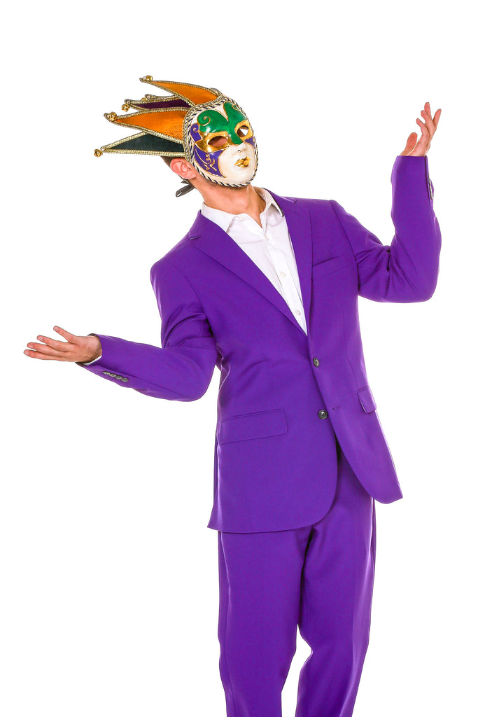 Guy's Purple, Gold and Green Mardi Gras Mask