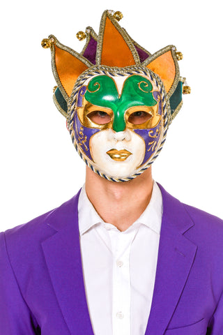 Men's Velvet Jester Mask