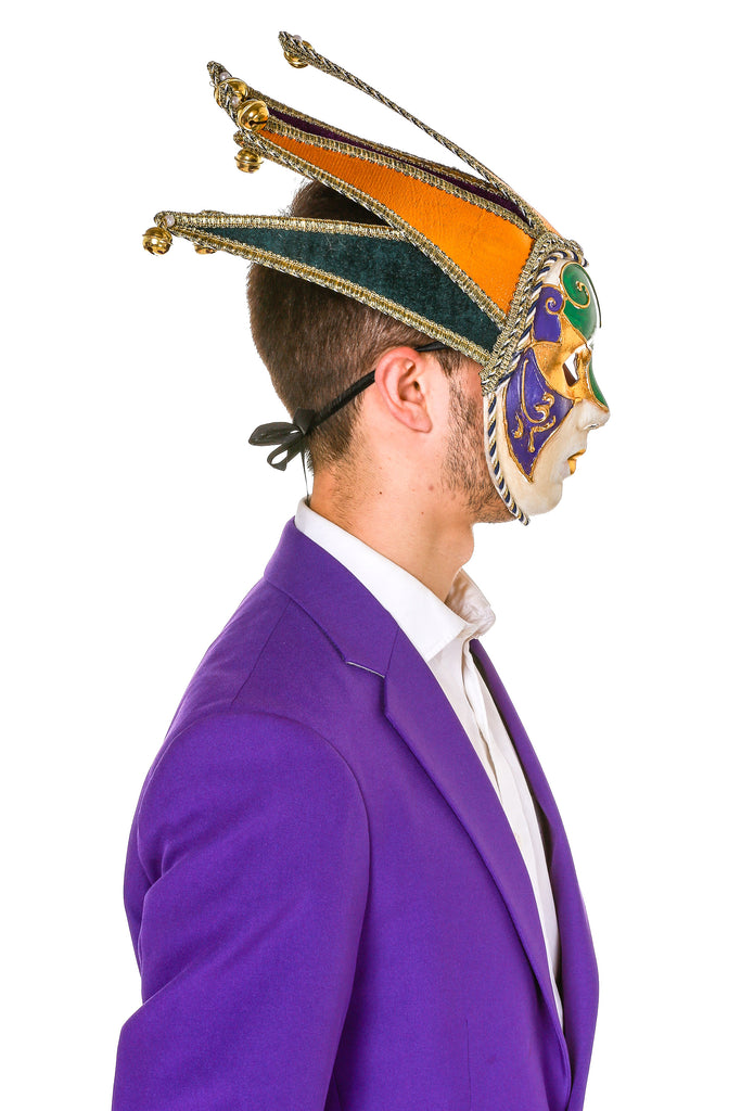 Gold, Purple and Green Velvet Jester Mask For Mardi Gras