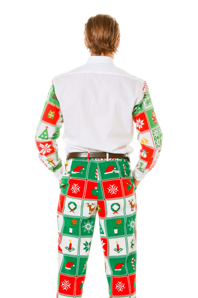 Back view of men's matching ugly christmas sweater sleeved button down shirt