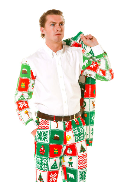 Quilted Pattern Sleeved Men's Christmas Dress Shirt