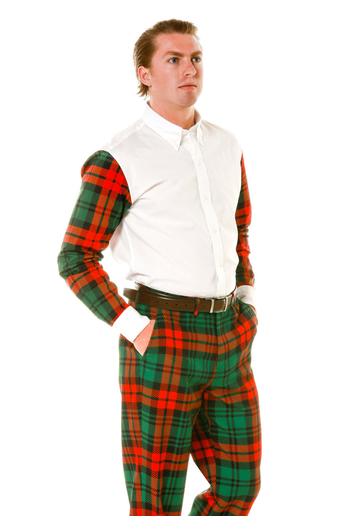 green and red plaid sleeve mens holiday button down shirt - Plaid Christmas Dress