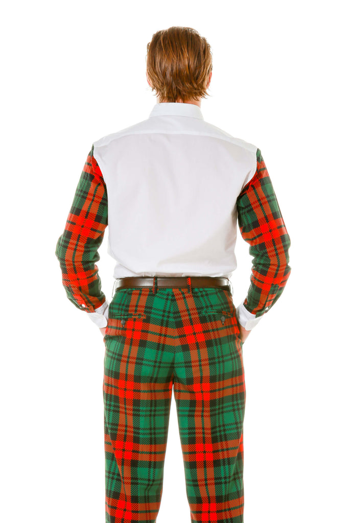 Back view of red green plaid holiday party shirt