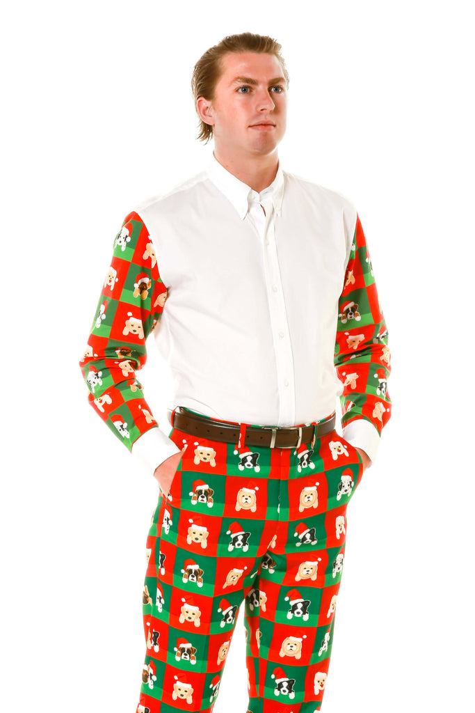 Men's Ugly Christmas Puppy Style Dress Shirt