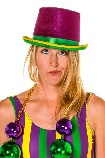 the monopoly man green and purple mardi gras top hat