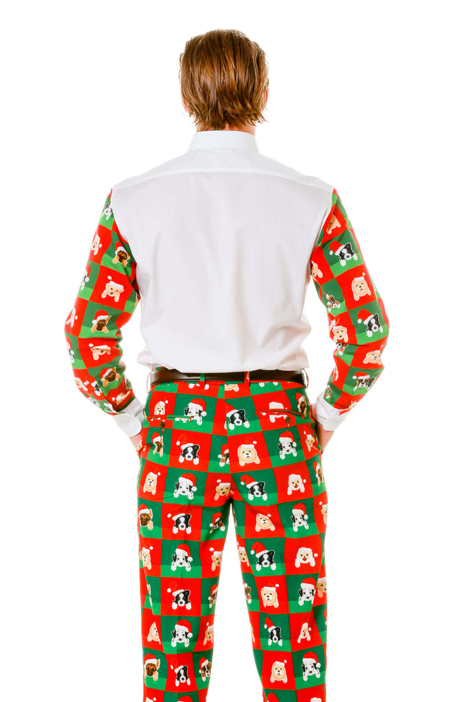 Back view of matching puppy print Ugly Christmas Suit