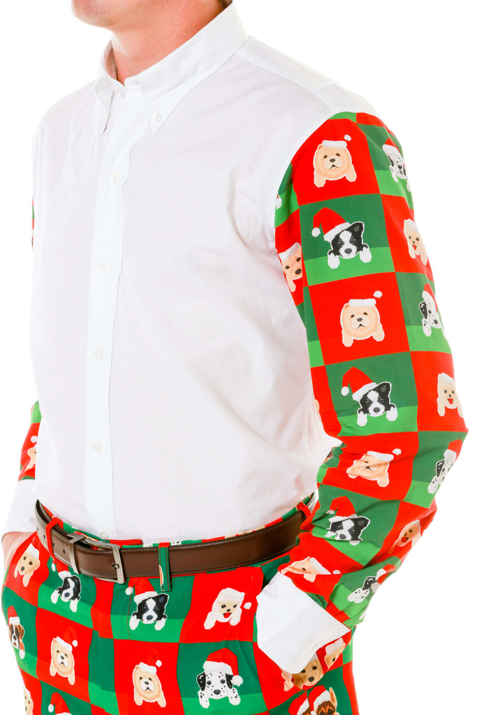 Detail of men's puppy print ugly christmas sweater button up shirt by Shinesty