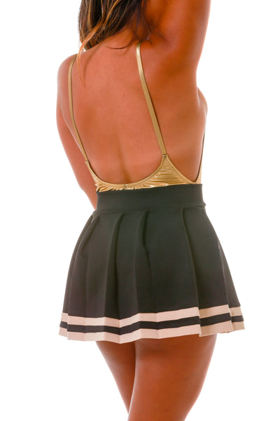 9bff7aa17 Gold and Black Cheerleader Skirt | The Black Gold Pleated Gameday Skirt