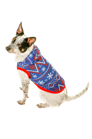 navy christmas snowflake dog sweater