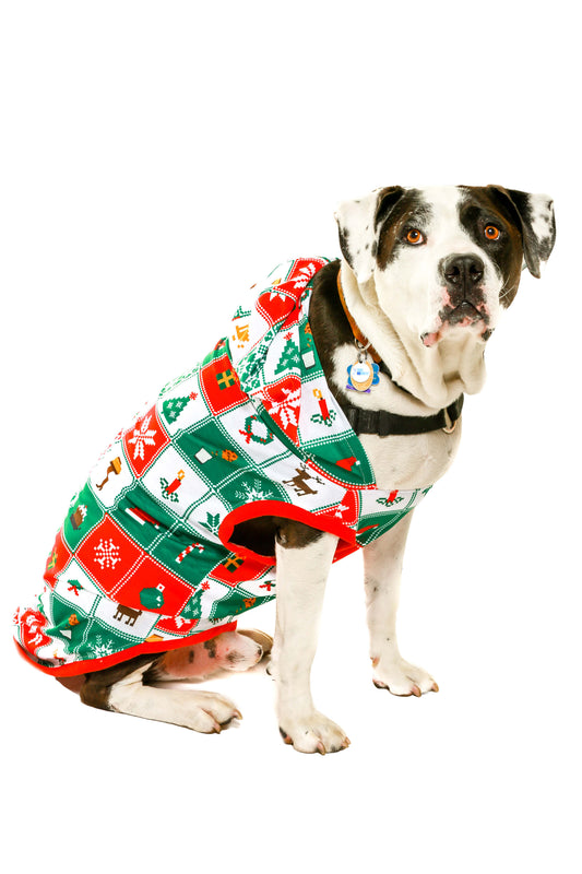 Matching Ugly Christmas Sweaters For Dog And Owner.Pet Me Twice Naughty Or Nice Patchwork Christmas Dog Hoodie