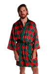 men's taxidermy plaid robe red and green
