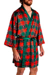 red and green plaid kimono robe