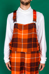 orange plaid pajama overalls for men
