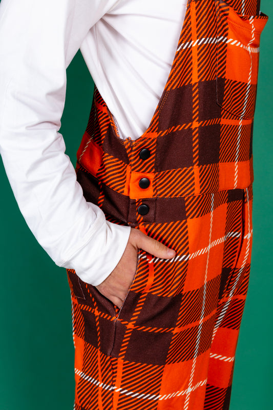 Mens orange plaid pajama overalls