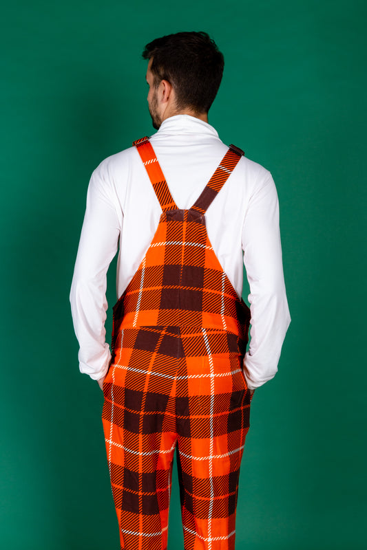 Mens thanksgiving orange plaid pajamaralls
