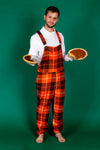 The Feast Forgivers Mens Orange Plaid Thanksgiving Pajamaralls