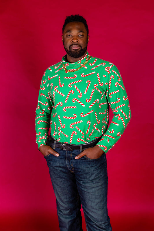 Santa's shiv candy cane turtleneck for men