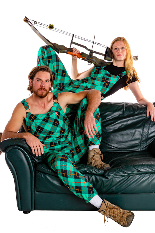 couples matching pajamaralls in teal plaid