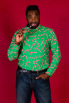 green and red candy cane Christmas turtleneck