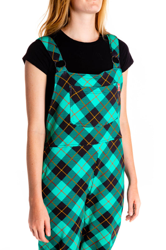 Women's pajama overalls in teal plaid