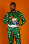 Men's Christmas Tree Print PJ Top