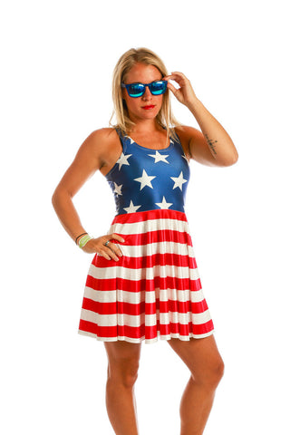 The Paulette American Flag Skater Dress - Shinesty