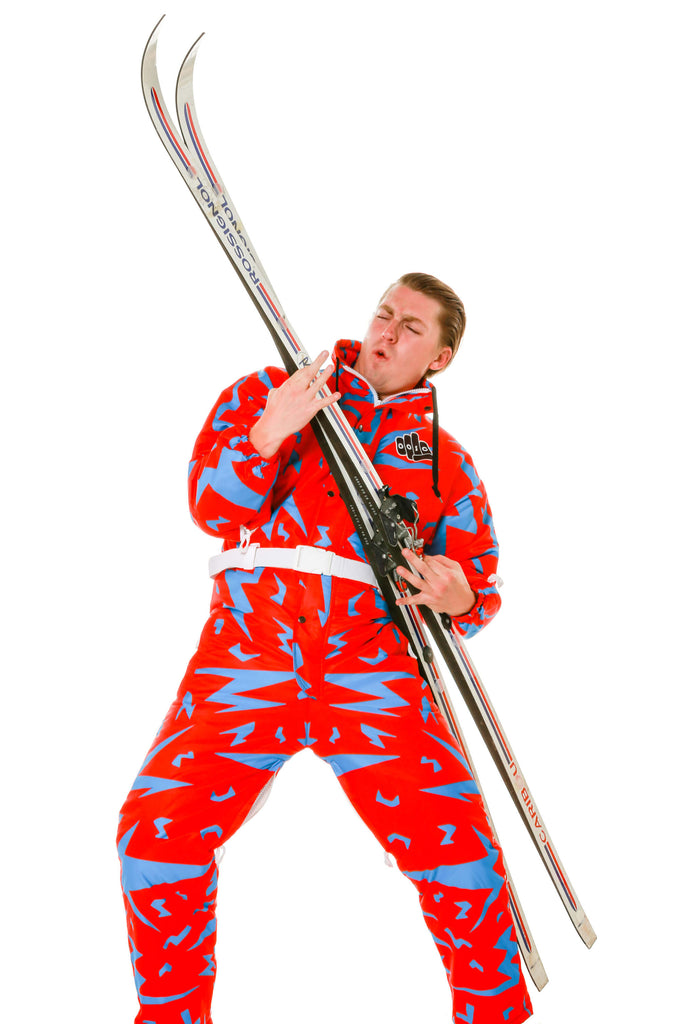 Retro print ski onesie at Shinesty