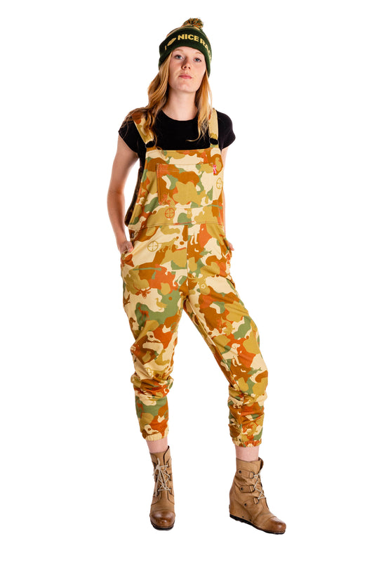 Camo pattern hunting overall pajamas for the ladies