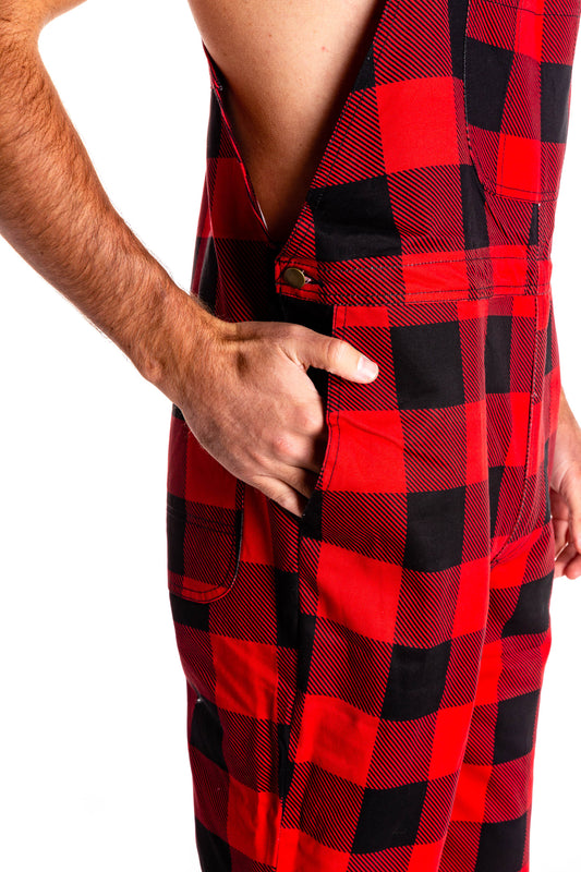 mens red plaid overalls