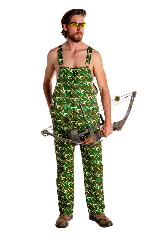 Hunting overalls with bow and arrow