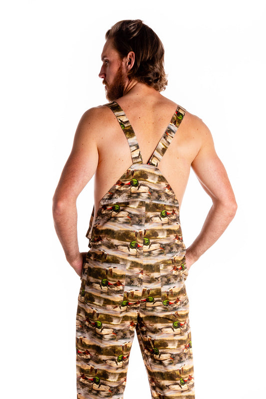 Back side men's duck hunting overalls