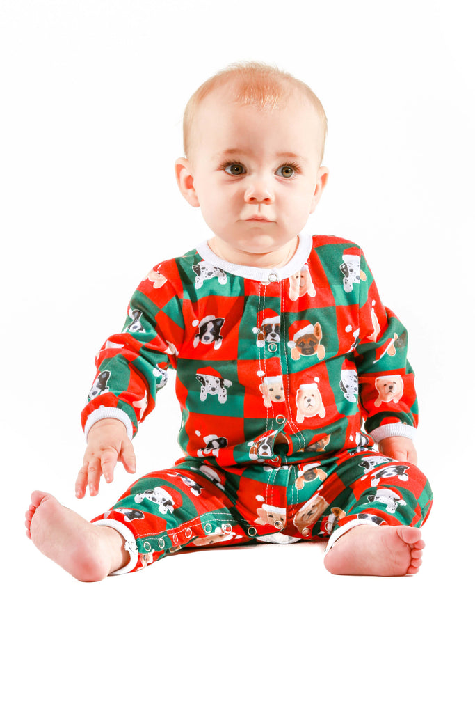 puppies pattern christmas baby onesie pajamas