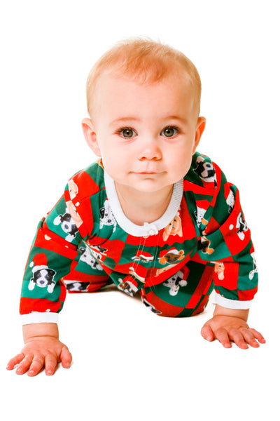 puppy print christmas baby onesie