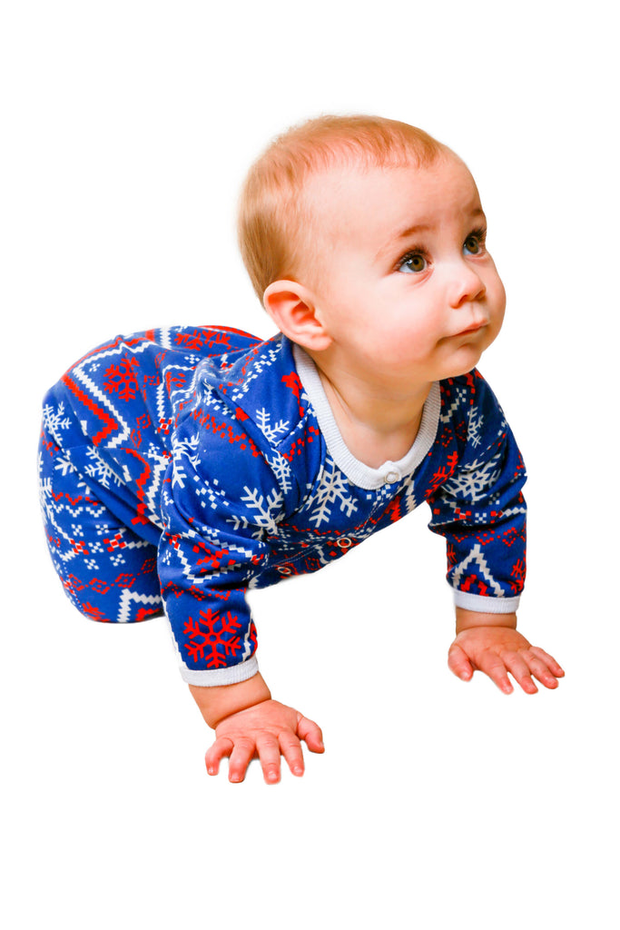 Navy and Red Fair Isle Baby Onesie   The Nordic Baby Pajamas
