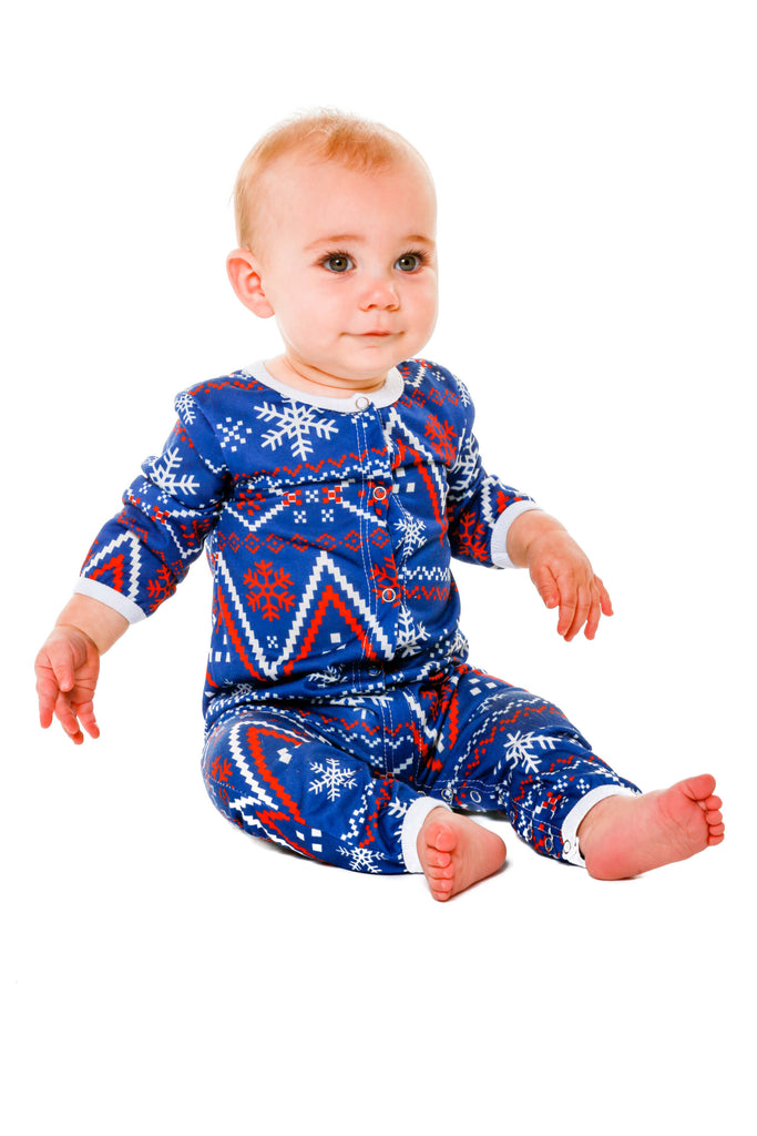 Navy and Red Fair Isle Baby Onesie | The Nordic Baby Pajamas