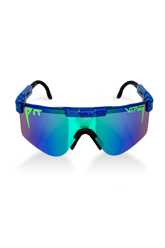 Blue and Neon Green Polarized Double Wide Pit Viper Sunglasses