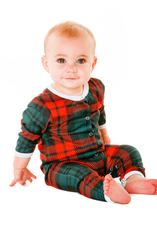 christmas plaid baby onesie