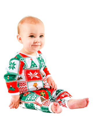 ugly christmas sweater pattern baby onesie