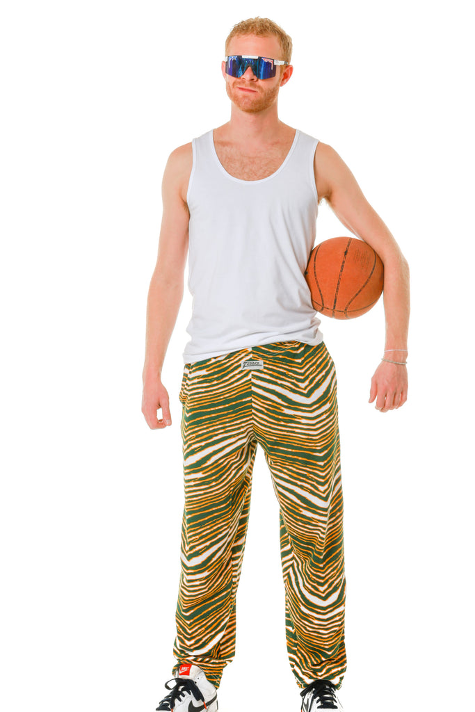 The Passionate Predator Zubaz Green and Gold Hammer Pants