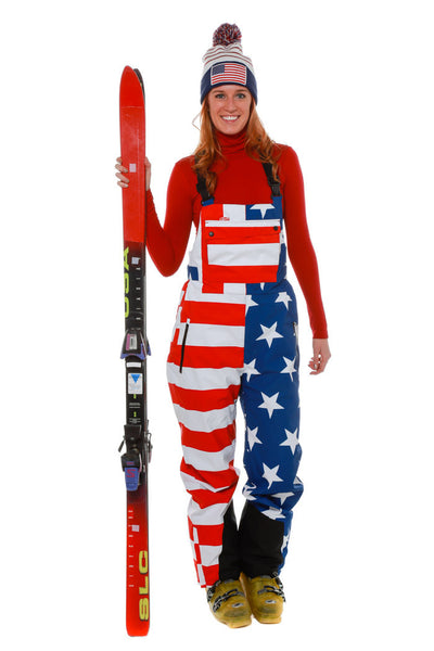 Pre-Order - How's Your Aspen Women's American Flag Ski Bibs - Delivery January 2017 - Shinesty