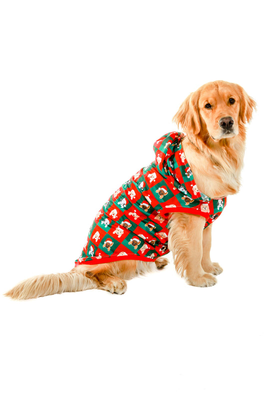 Christmas puppies pattern matching dog sweater with hood