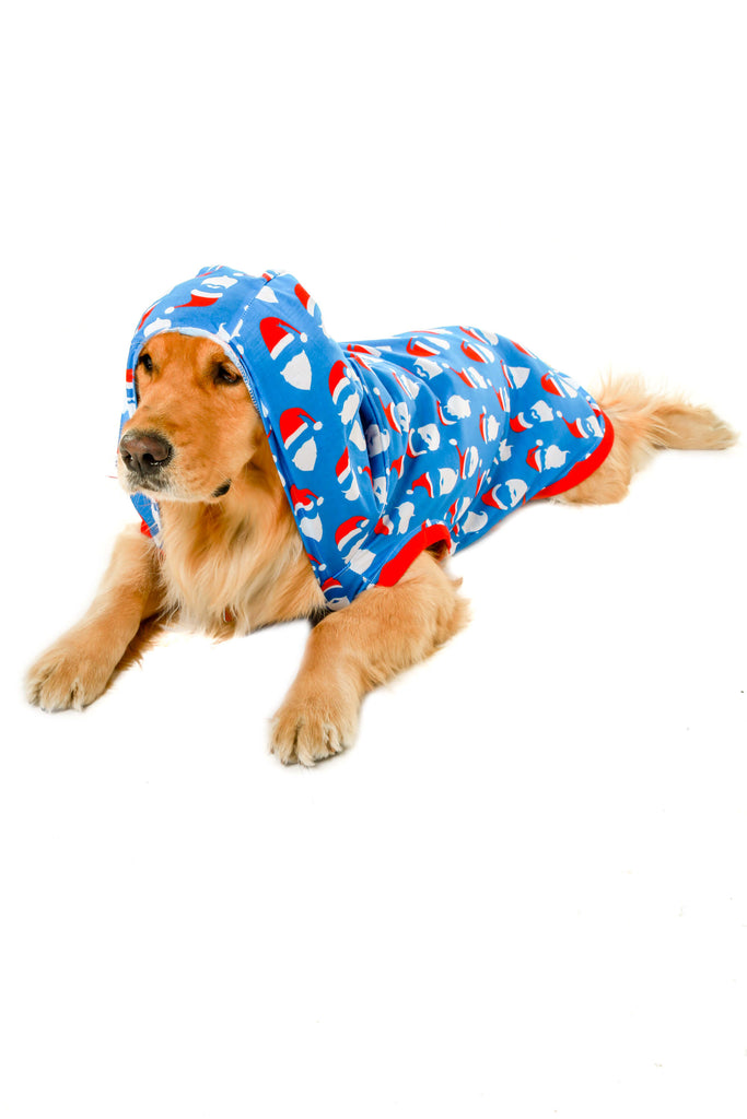 santa faces pattern dog onesie with hood
