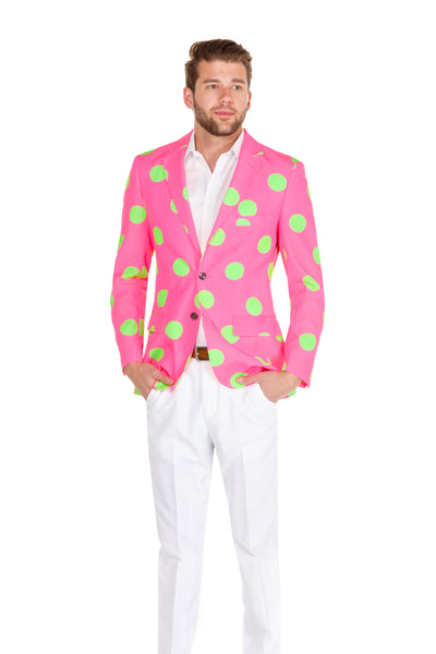 Pink and green polka dot jacket