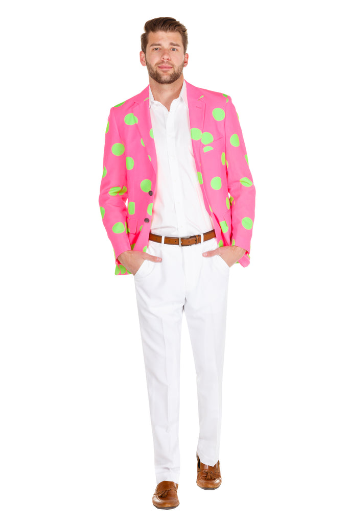 Green and pink suit jacket