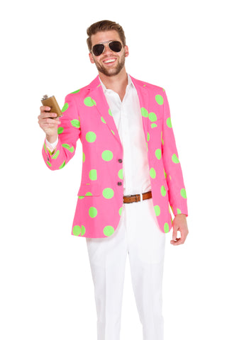 Pink Polka Dot Blazer for men