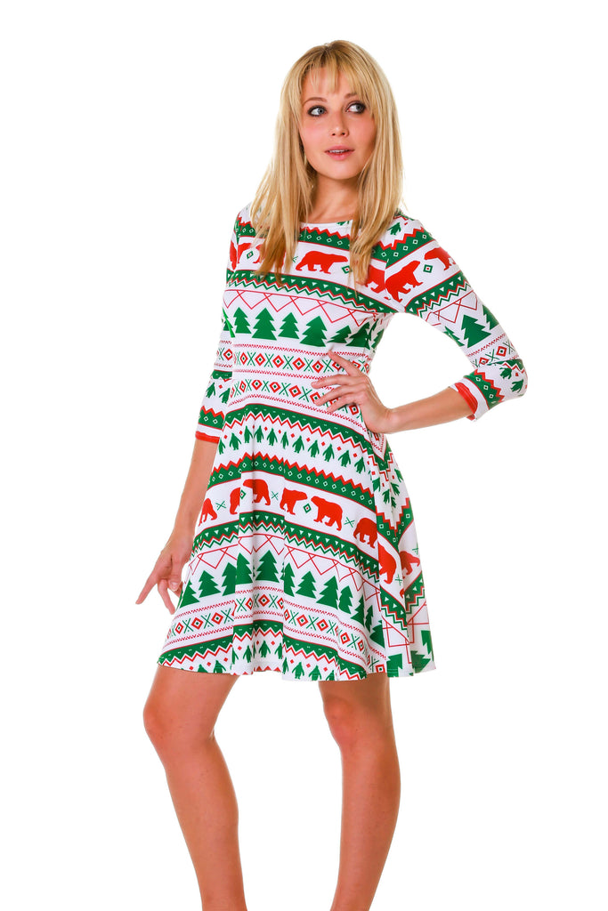 The Polar Bear Bandito | Long Sleeve Green Fair Isle Dress