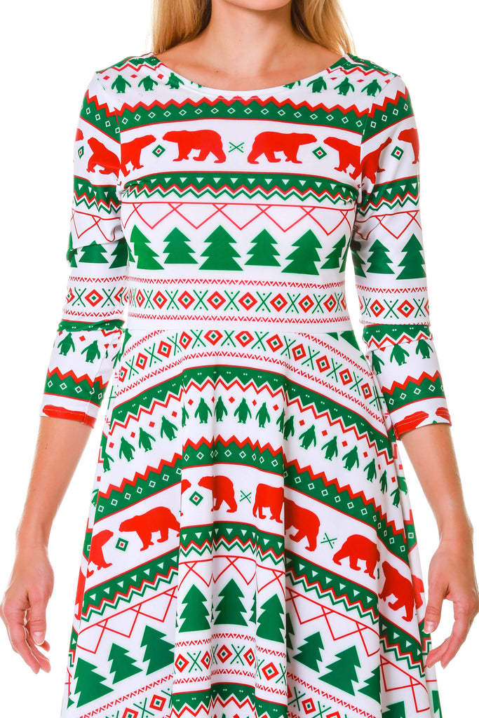 Ladies White Fair Isle Long Sleeve Holiday Dress by Shinesty
