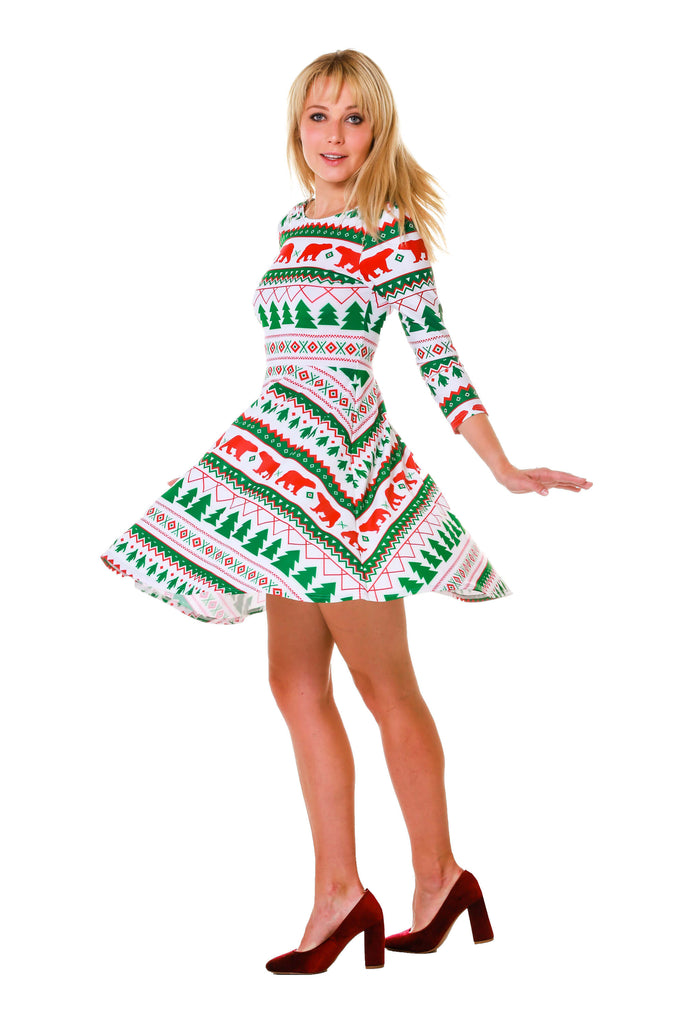 Woman modeling white, green, red holiday party dress