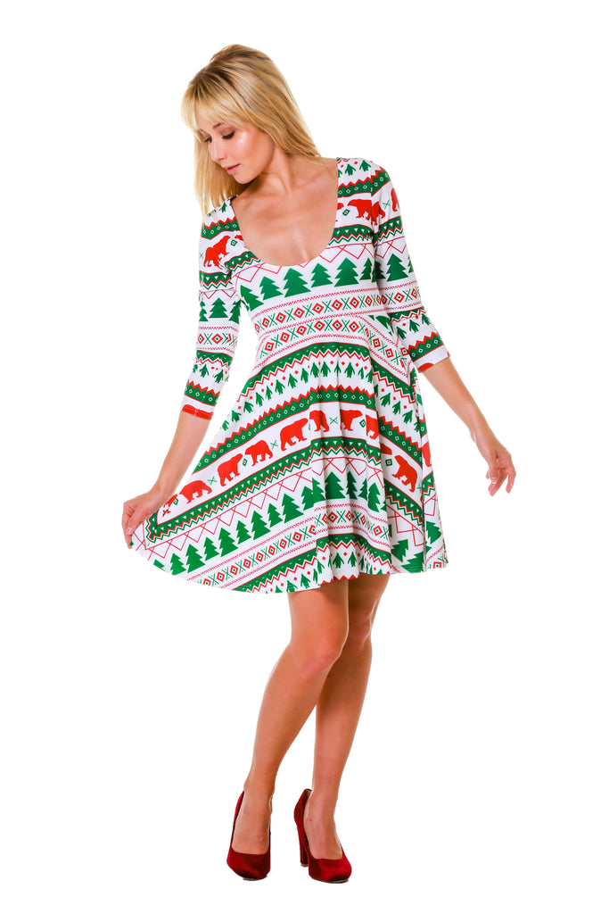Women's White Fair Isle Reversible Holiday Dress by Shinesty