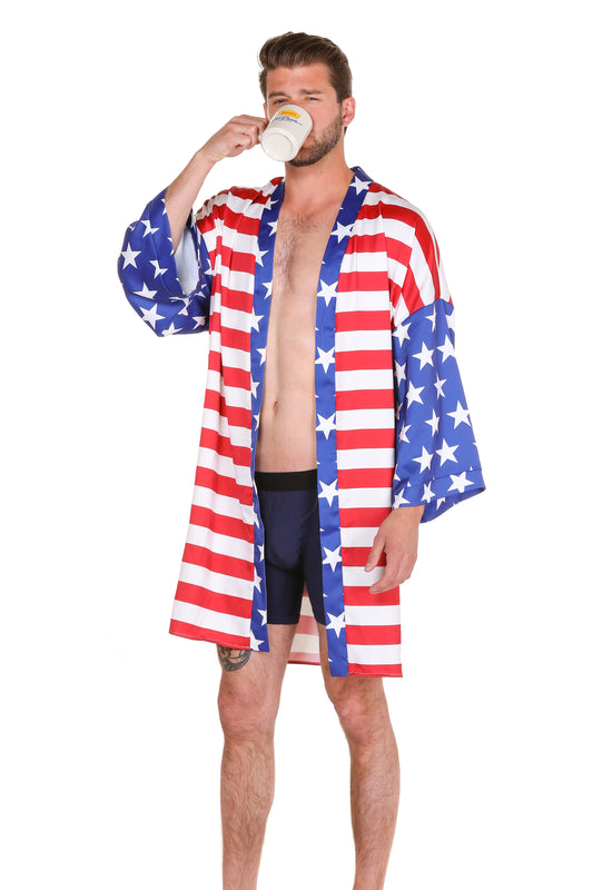 men's red white and blue party robe